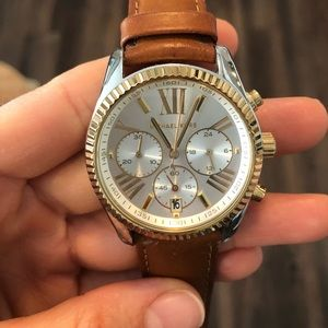 Michael Kors two-toned camel leather strap watch